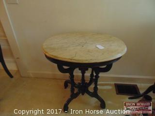 Victorian, Oval, Marble Top Table with Walnut Base.