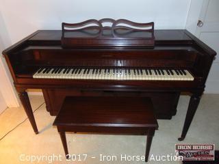 Mahogany Spinet Piano by Acrosonic.