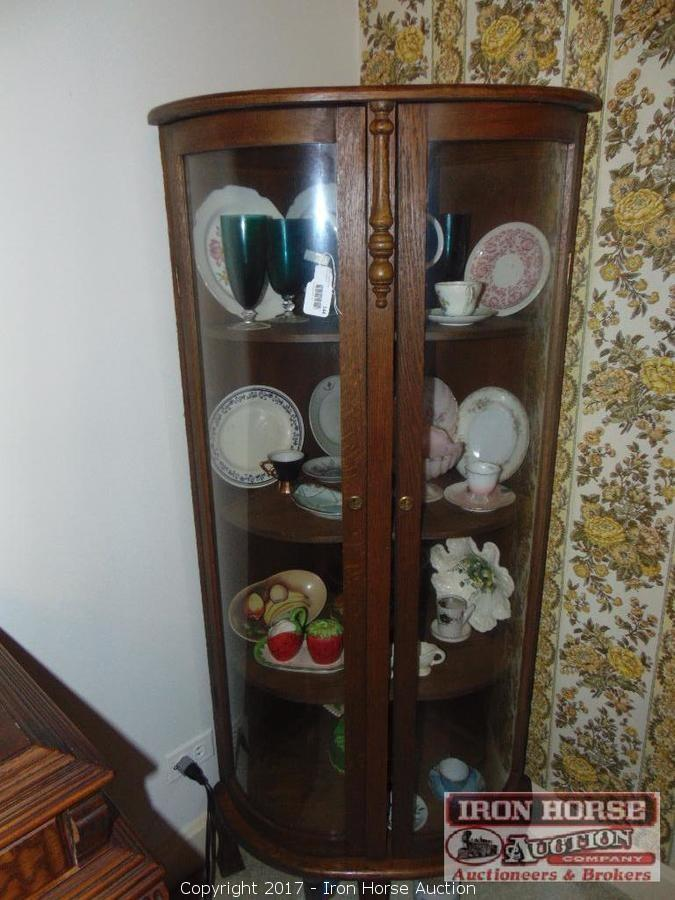 Antique, Oak, China Cabinet with Rounded Glass Doors. - Iron Horse Auction - Auction: Estate Auction Of The Late Virginia