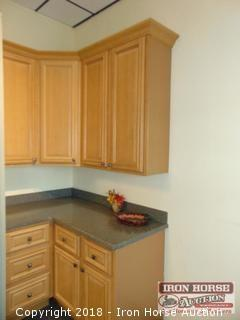CORNER CABINET DISPLAY W/ SOLID SURFACE TOP