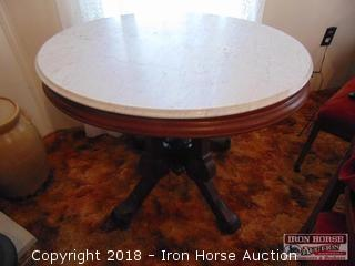 Oval Marble Top Accent Table  -  Obtained from the Mrs. Eugene Wall Estate