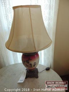 Oil Painted Glass Table Lamp Converted To Electric  -  Obtained from the Mrs. Eugene Wall Estate