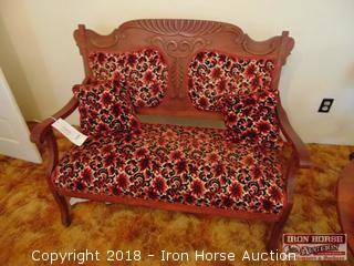 Wooden Loveseat w/ Upholstered Seat and Back  -  Obtained from John Colson Plantation