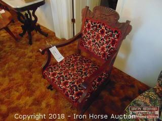 Wooden Platform Rocker w/ Upholstered Seat and Back  - Obtained from John Colson Pantation