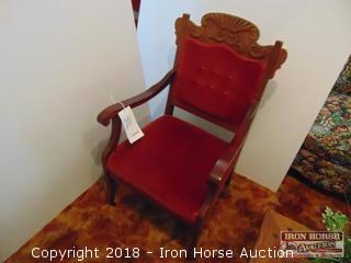 Wooden Arm Chair w/ Upholstered Seat and Back  -  Obtained from the John Colson Plantation