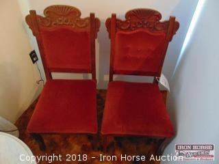 (2) Wooden Straight Chair w/ Upholstered Seat and Back  -  Obtained from the John Colson Plantation