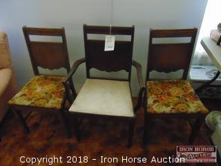 3 Dining Table Chairs  -  One Captain's Chair and Two Side Chairs