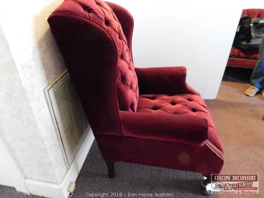 ... Red Velvet Upholstered Wing Back Chair ...