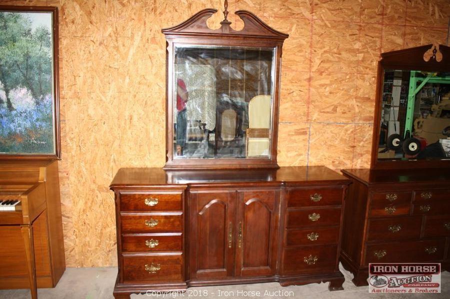 Pennsylvania House, Mahogany, Mirrored Dresser. - Iron Horse Auction - Auction: Antique Furniture Auction ITEM