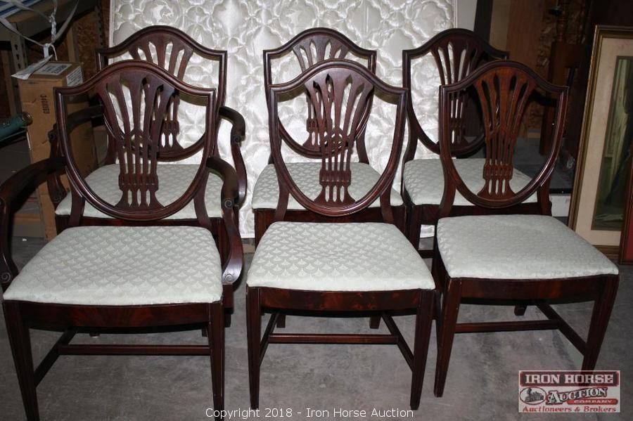 Iron Horse Auction   Auction: Antique Furniture Auction ITEM: Set Of Six,  Williams U0026 Kimp, Mahogany Dining Chairs.