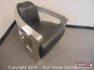 Chrome Finish Straight Chair  - leather like upholstery