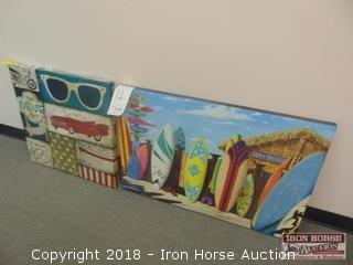 Two Prints  - Surfboards and Convertible/Sunglasses/Hotdogs