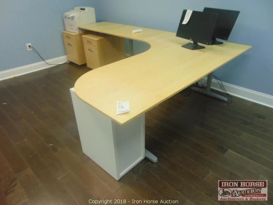 Natural Finish L Shaped Desk W/ Matching Drawer Cabinet And One 2 Drawer  Rolling