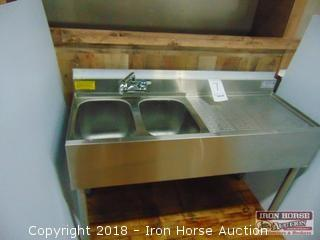 Krowne model 18-42L 2 compartment bar sink 48in wide 18in deep 29.5 in tall