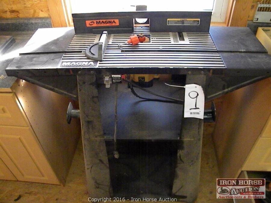Iron horse auction auction 66 mustang jd tractor concrete magna router table floor model with dewalt router keyboard keysfo Choice Image