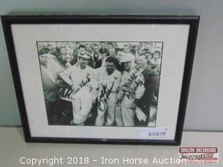 "Autographed racing photograph of Tom Flock, Buck Baker, and  Frank ""Rebel"" Mundy."