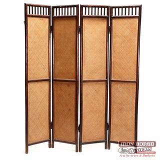 Chinese Four Panel Rattan Screen