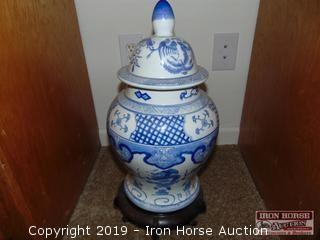 "DECORATIVE POTTERY ON STAND 19"" HIGH"