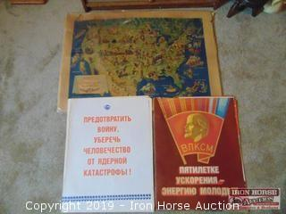 "SOVIET POSTERS (18""X23"") AND AMERICAN FOLKLORE MAP (2'X3') (3X MONEY)"