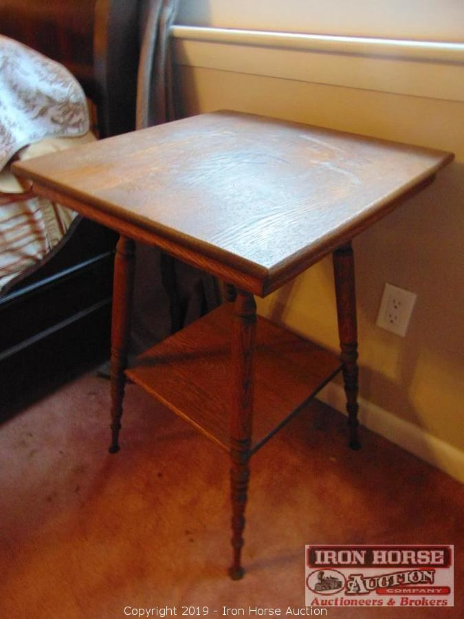 Iron Horse Auction   Auction: Antiques, Furniture, Appliances, Housewares  And Much More! ITEM: Antique Oak Side Table.