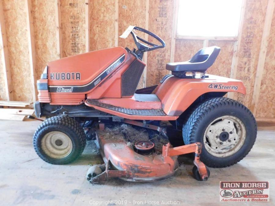 Iron Horse Auction Auction Receivership Auction Of Brushy Mountain Bee Farm Day 1 Item Kubota G1900 Diesel 4 Wheel Steer Lawn Tractor 19 Hp Kubota Engine Liquid Cooled Hydro Static Transmission 48 Inch Deck