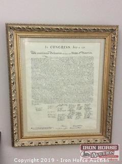 Framed Copy of The Declaration of the United States