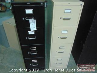 (2) Hon 4 Drawer File Cabinets
