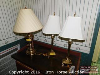 Three Table Lamps w/ Shades