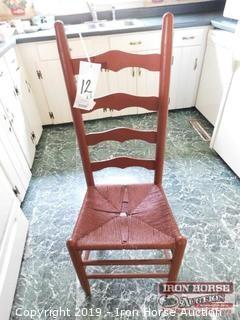 (3) Ladder Back Pine Chairs w/ Cushions