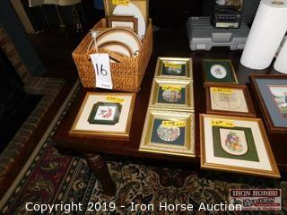 Basket of Small Picture Frames and 8 small Framed Wall Hangings