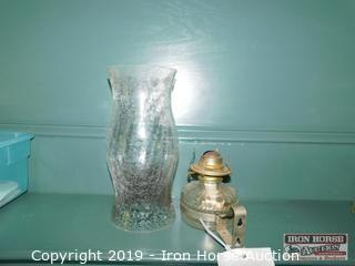"Oil Lamp Base w/ Non-matchings 11"" Chimney"
