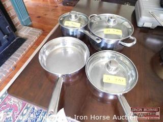 Home Accent Stainless Steel Cook Pots  -  Set of 4 w/ 3 glass lids