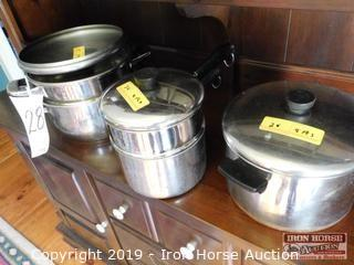 Set of Pots  -  5 Pots and 3 lids, one is a double broiler