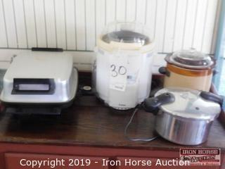 Grouping of Crock Pot, Electric Frying Pan, Pressure Cooker, Auto Bakery