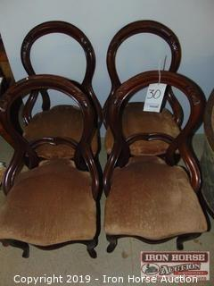 (4) Wood Back Fabric Covered Seat Dining Chairs (4XMONEY)