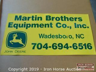 Magnetic Martin Bros. Equipment Co. Sign