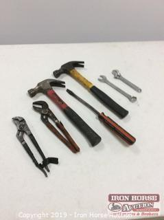 Tray of Hand Tools, Hammers, 2 Slip Joint Pliers, & ECT