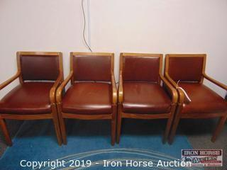 (4) Wood Cushioned Office Chairs (4XMONEY)