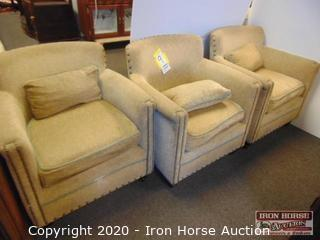 (3) Vanguard Furniture Upholstered Club Chairs (3XMONEY)