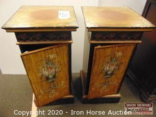 (2) Paint Decorated Pedestal Cabinets (2XMONEY)