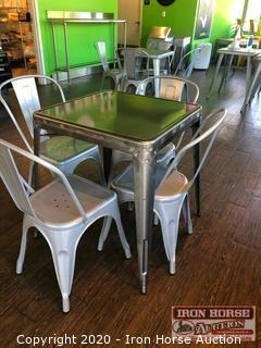 (7) Metal Table with 4 Chairs