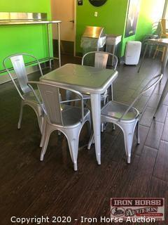(4) Metal Table with 4 Chairs