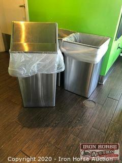 (3) Stainless Steel Trash Cans
