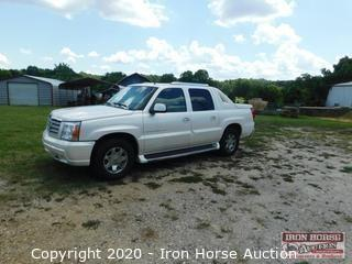 2002 Cadillac Escalade EXT  -  VIN:  3GYEK63N62G214770, 63,000 miles showing, Leather, Rear cover, Running boards, Sun roof, Luggage rack, Receiver hitch, Two owner vehicle,  Tires 90% tread remaining