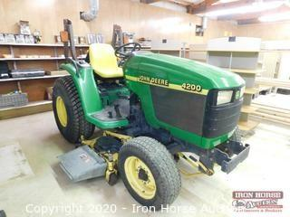"""John Deere 4200 HST 26 HP Diesel Tractor w/ Belly Mower  -  Serial:  LV4200H221196, 498 Hours Showing, 60"""" Commercial Mower Deck, PTO (20 HP) and 3 Pt. Hitch never used, Only used as a lawnmower, One owner"""