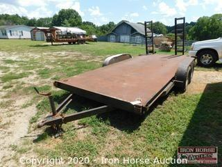 """Atwood Mobile Products 16' Bumper Hitch Flat Trailer  -  VIN: ?     ,  Ramps, Post pockets, Tandem axle, 15"""" Tires, Tires 20% tread remaining, 2 5/16"""" hitch, Ramps"""