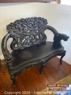Oriental Carved Wood Bench
