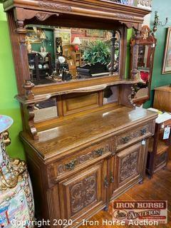 Antique Mirrored Oak Carved Sideboard