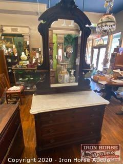 Marble Top Mirrored Dresser on Casters