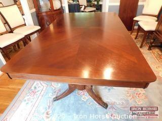 Double Pedestal Formal Dining Room Table with Leaf
